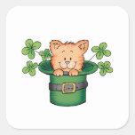 St. Patricks Kitty Square Stickers