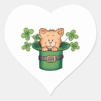 St. Patricks Kitty Heart Sticker