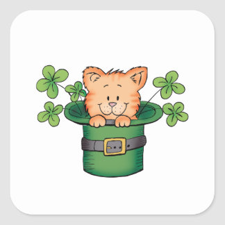 St. Patricks Kitty Square Sticker