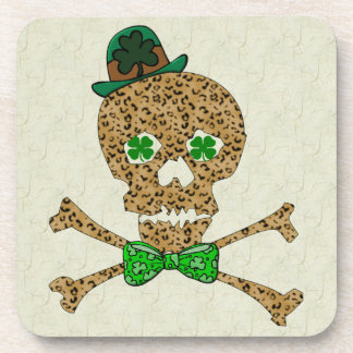 St. Patrick's Leopard Skull Beverage Coaster