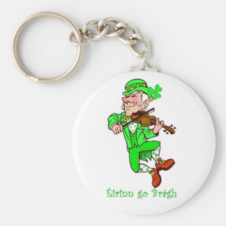 St. Patrick's Leprechaun playing fiddle Keychains
