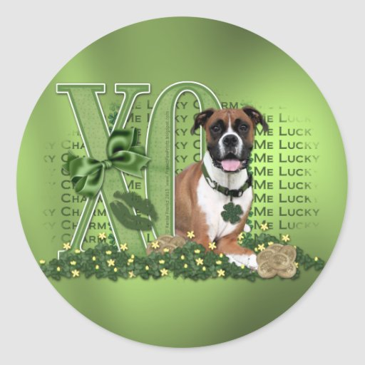 St Patricks - Me Lucky Charm - Boxer - Vindy Classic Round Sticker