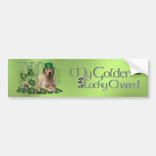 St Patricks - Me Lucky Charm - Golden Retriever Car Bumper Sticker