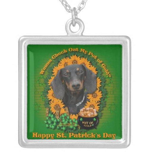 St Patricks - mina de oro - Dachshund - Winston Pendientes