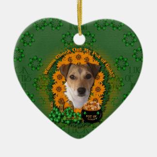 St Patricks - mina de oro - Jack Russell Ornaments Para Arbol De Navidad