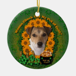 St Patricks - mina de oro - Jack Russell Ornamento De Navidad