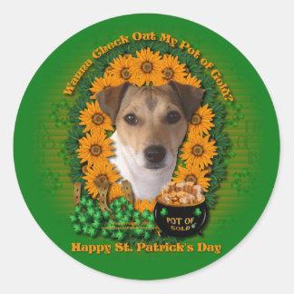 St Patricks - mina de oro - Jack Russell Etiqueta Redonda