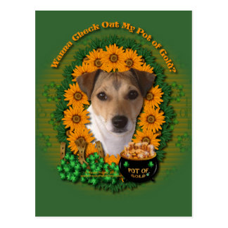 St Patricks - mina de oro - Jack Russell Tarjeta Postal
