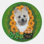 St Patricks - mina de oro - mojón Terrier Etiqueta Redonda
