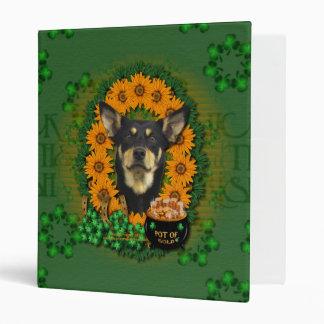 St Patricks - Pot of Gold - Austalian Kelpie -Jude 3 Ring Binder