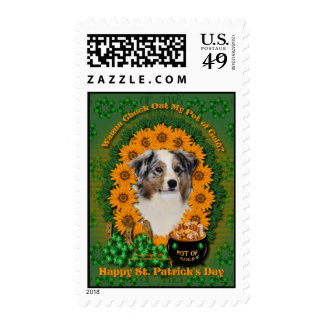 St Patricks - Pot of Gold - Australian Shepherd Postage Stamps