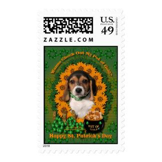 St Patricks - Pot of Gold - Beagle - Puppy Stamp