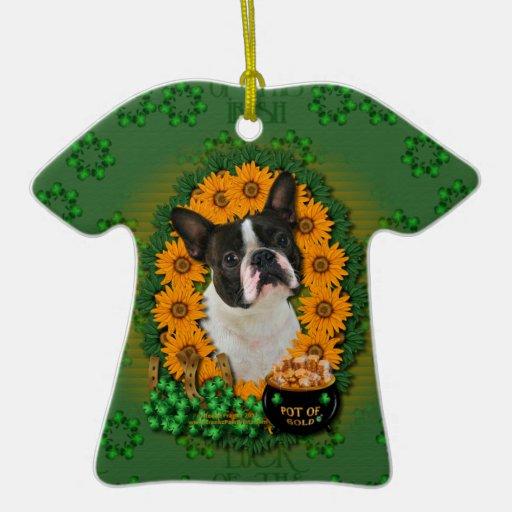 St Patricks - Pot of Gold - Boston Terrier Double-Sided T-Shirt Ceramic Christmas Ornament