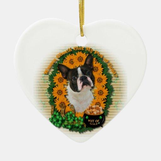 St Patricks - Pot of Gold - Boston Terrier Christmas Tree Ornament