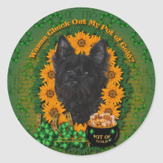 St Patricks - Pot of Gold - Cairn Terrier - Rosco Round Stickers
