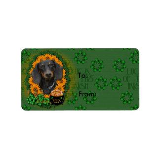 St Patricks - Pot of Gold - Dachshund - Winston Address Label