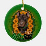 St Patricks - Pot of Gold - Doberman - Red - Rocky Christmas Tree Ornament