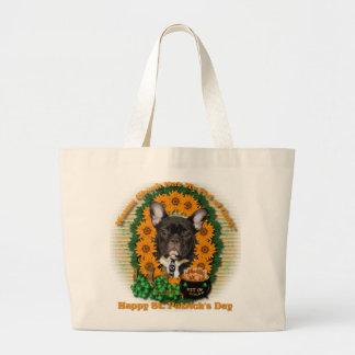 St Patricks - Pot of Gold - French Bulldog - Teal Canvas Bag