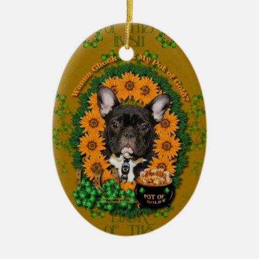 St Patricks - Pot of Gold - French Bulldog - Teal Double-Sided Oval Ceramic Christmas Ornament