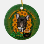 St Patricks - Pot of Gold - French Bulldog - Teal Double-Sided Ceramic Round Christmas Ornament