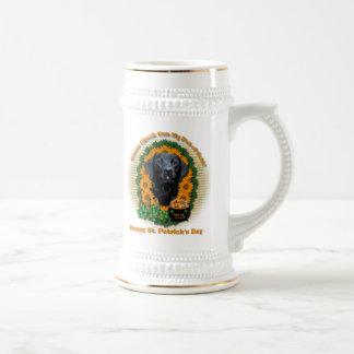 St Patricks - Pot of Gold - Labrador - Black -Gage 18 Oz Beer Stein