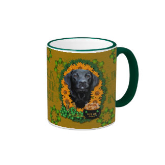 St Patricks - Pot of Gold - Labrador - Black -Gage Ringer Coffee Mug