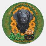 St Patricks - Pot of Gold - Labrador - Black -Gage Round Sticker