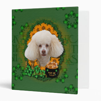 St Patricks - Pot of Gold - Poodle - White 3 Ring Binders