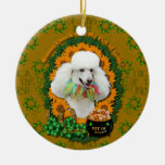 St Patricks - Pot of Gold - Poodle - White Double-Sided Ceramic Round Christmas Ornament