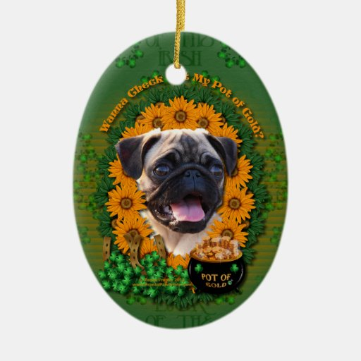 St Patricks - Pot of Gold - Pug Double-Sided Oval Ceramic Christmas Ornament