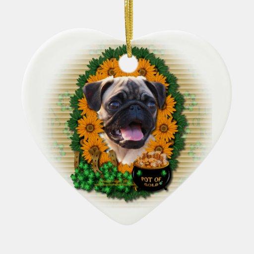 St Patricks - Pot of Gold - Pug Christmas Tree Ornament