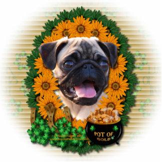 St Patricks - Pot of Gold - Pug Standing Photo Sculpture
