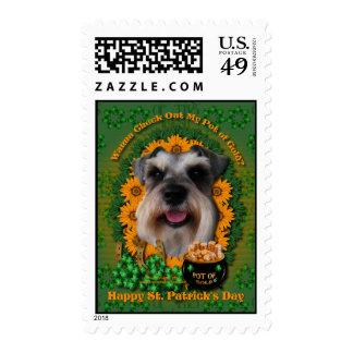 St Patricks - Pot of Gold - Schnauzer Postage Stamps