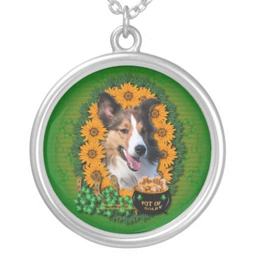 St Patricks - Pot of Gold - Sheltie Round Pendant Necklace