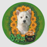 St Patricks - Pot of Gold - West Highland Terrier Classic Round Sticker
