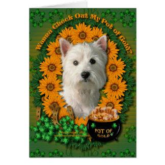 St Patricks - Pot of Gold - West Highland Terrier Greeting Card