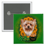 St Patricks - Pot of Gold - Yorkshire Terrier Pinback Button