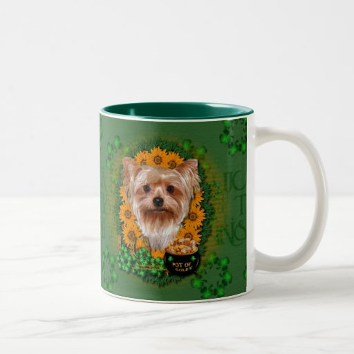 St Patricks - Pot of Gold - Yorkshire Terrier Two-Tone Coffee Mug