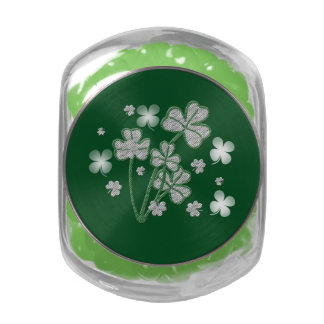 St Patricks preppy shamrock bouquet Glass Candy Jar