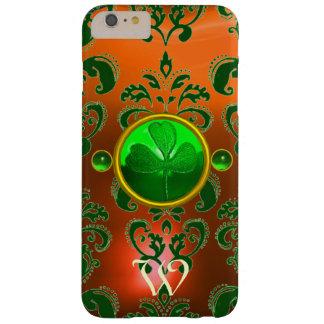ST PATRICK'S SHAMROCK ORANGE GREEN DAMASK MONOGRAM BARELY THERE iPhone 6 PLUS CASE
