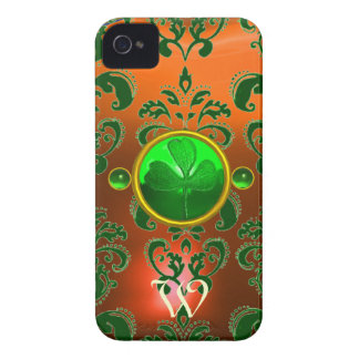 ST PATRICK'S SHAMROCK ORANGE GREEN DAMASK MONOGRAM iPhone 4 COVER