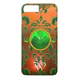 ST PATRICK'S SHAMROCK ORANGE GREEN DAMASK MONOGRAM iPhone 7 PLUS CASE