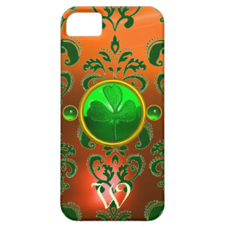 ST PATRICK'S SHAMROCK ORANGE GREEN DAMASK MONOGRAM iPhone SE/5/5s CASE