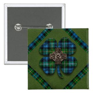 St. Patrick's Shamrock Tartan Celtic Cross Button