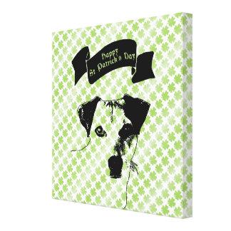 St Patricks - silueta de Jack Russell Impresión En Lona Estirada