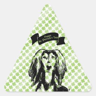 St Patricks - silueta de Saluki Colcomanias Trianguladas Personalizadas