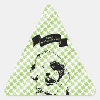 St Patricks - silueta de Terrier tibetano Calcomania Triangulo Personalizadas
