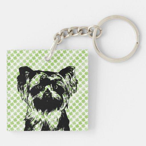 St Patricks - silueta de Yorkshire Terrier Llavero