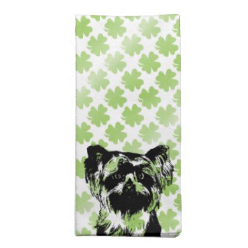 St Patricks - silueta de Yorkshire Terrier Servilletas