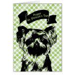St Patricks - silueta de Yorkshire Terrier Tarjeta